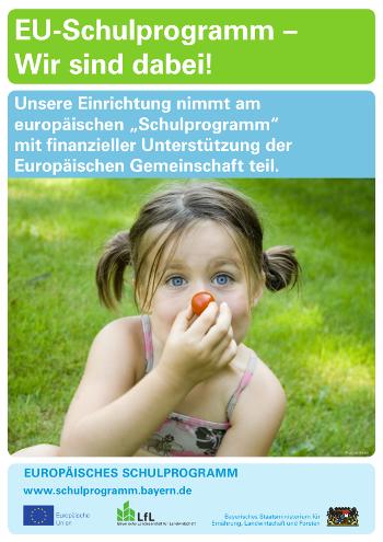 Poster des EU-Schulprogramm - Obst, Gemüse, Milch und Milchprodukte für Bayerns Kinder